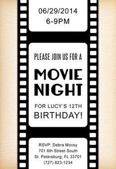 movie night birthday invitation kids pinterest birthday