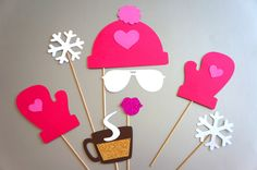 Winter Photo Booth Props - 8 piece set - GLITTER Photobooth Props - Snow Bunny, Pink. $22.00, via Etsy.