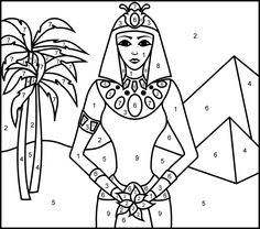 Princess of Egypt - Printable Color by Number Page AVERY