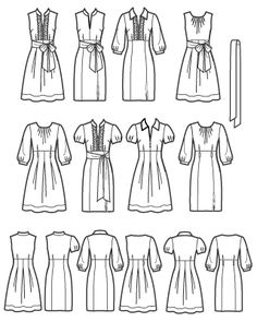 Simplicity 2724 -flattering dress pattern with several skirt, bodice, and sleeve variations!