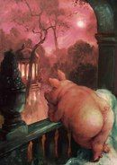Rudi Hurzlmeier- what are you thinking about? Art And Illustration, Michael Sowa, Pig Drawing, Pig Art, Cute Piggies, Arte Horror, Animal Paintings, Rock Art, Art Drawings