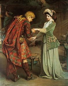 After the Jacobites were defeated, Bonnie Prince Charlie sailed away to safety in France - aided by legendary Scottish heroine Flora MacDonald. (Flora MacDonald's Farewell to Bonnie Prince Charlie by George William Joy) Brave, Bonnie Prince Charlie, Charlie George, Scotland History, Men In Kilts, Pre Raphaelite, Art Graphique, My Heritage, British History