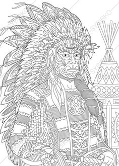 Stock vector of 'Stylized red indian chief (redskin man) wearing traditional headdress. Freehand sketch for adult anti stress coloring book page with doodle and zentangle elements. Mandala Coloring Pages, Coloring Book Pages, Coloring Pages For Kids, Coloring Sheets, Anti Stress Coloring Book, Doodle, Zen Colors, Red Indian, Printable Adult Coloring Pages