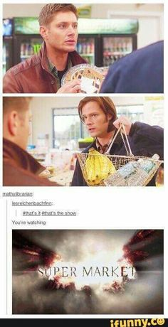 It may say Supernatural on the front but really it's Dean mourning cause he can't have pie. Supernatural Bloopers, Supernatural Tumblr, Supernatural Tattoo, Supernatural Wallpaper, Supernatural Angels, Supernatural Beings, Mark Sheppard, Sam Winchester, Winchester Brothers