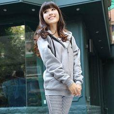 J41734 Autumn mustache pattern hooded fleece coat grey