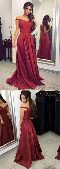 Burgundy Off the shoulder Long Prom Dress,Formal Evening Dress #Burgundy #Offshoulder #Longpromdress