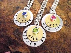 Sisters Necklace Set Little Sister Middle Sister by CharmAccents,