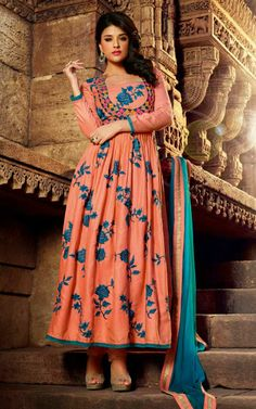 PEACH COTTON ANARKALI SALWAR KAMEEZ - DIF 29570