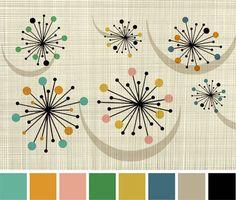 Midcentury Modern Pallette via Secret Design Studio, Melbourne Mid Century Modern Decor, Mid Century Art, Mid Century Style, Mid Century Design, Mid Century House, Modern Colors, Mid-century Modern, Art Graphique, Colour Schemes