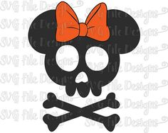 Halloween Skull and Bones Skeleton Minnie Mouse by SVGFileDesigns