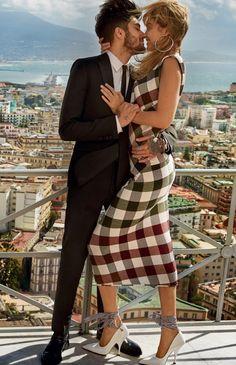 Gigi Hadid   Victoria Beckham Gingham Panelled Dress   Celebrity Fashion and Style