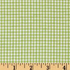 Woven Poly/Cotton Seersucker Gingham Lime Green Fabric