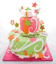Cake I am contemplating making for a 2012 Graduation party, but with maroon and forest green colors.