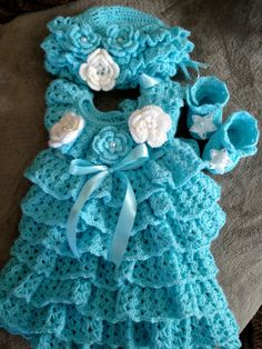 Free Crochet Baby Christmas Dress | FINISHED Baby Ruffle Holiday Dress Hat  by PatternsDesigner, $125.00