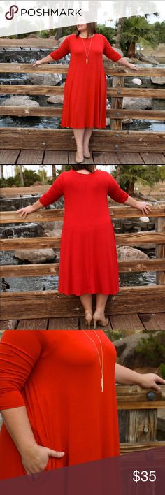 Rust colored midi dress with pockets. Beautiful rust colored midi dress with pockets. Slightly more fitted over the chest so as to give a nice shape, all while being relaxed and fun. Wear with heels for a night out or throw in some sandals for a chill day! Dresses Midi