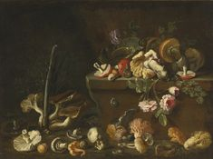 ATTRIBUTED TO SIMONE DEL TINTORE LUCCA 1630 - 1708 STILL LIFE WITH MUSHROOMS AND FLOWERS