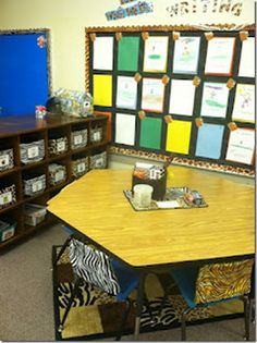 a jungle classroom theme.   Look at the seat covers... I could make them  or we use paper