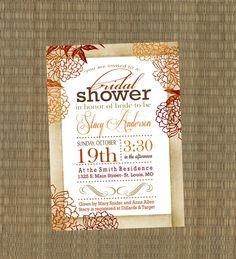 Bridal Shower Invitation - Vintage Fall Wedding Shower Invitation - Shabby Chic Autumn Shower Invitation - Orange, Burgandy, Brown. $15.00, via Etsy.
