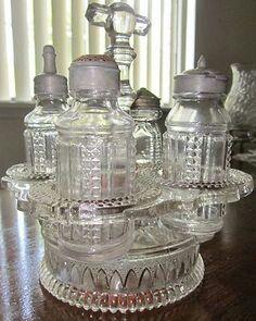Rare EAPG Canadian glass condiment set