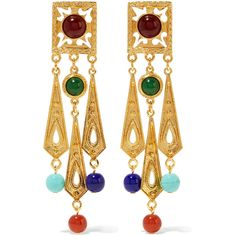 Ben-Amun - Gold-tone Bead Clip Earrings featuring polyvore, women's fashion, jewelry, earrings, gold, gold tone earrings, beaded jewelry, ben amun earrings, tri color earrings and gold colored earrings