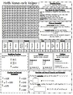Homework Helper: Math Reference Sheet for 4th grade (I own it)