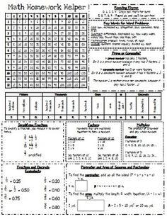 Homework Helper: Math Reference Sheet for 4th grade (I own it)