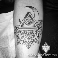 Penrose triangle with Mandala and illuminati eye