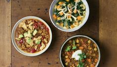 Speedy Turkey Chili; Quick Lentil-and-Chickpea Curry; Kale and Sweet Potato Minestrone