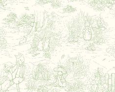 Love Peter rabbit, its so classic. Perfect for a baby room.    Garden Tales Green Peter Rabbit Toile 25554-G