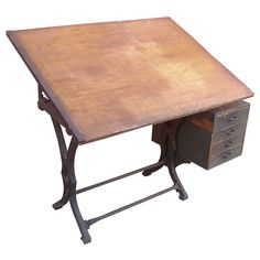 Drafting Antique Table With Drawers Industrial Cast