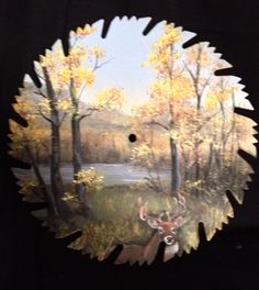 Hand painted on round saw blade