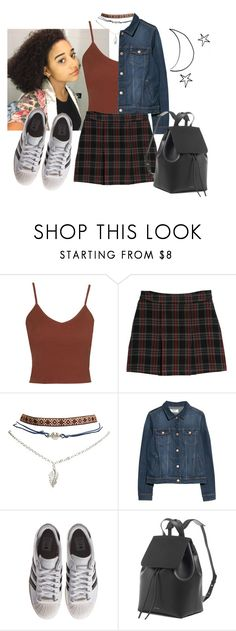 """Pure cells"" by sinddie ❤ liked on Polyvore featuring Topshop, MANGO, Wet Seal and adidas Originals"