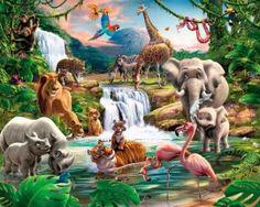 Jungle behang - Dieren Leeuw, olifant, zebra, aap - Junglekamer