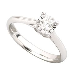 9ct white gold 0.17 carat diamond solitaire ring | Fraser Hart Jewellers