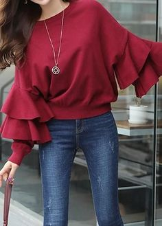 Women Blouse Designs, Women Blouses And Tops, Formal Blouses For Women Red Long Sleeve Dress, Bell Sleeve Blouse, Bell Sleeves, Dresses With Sleeves, Collar Blouse, Trendy Tops For Women, Blouses For Women, Culottes, Red Blouses