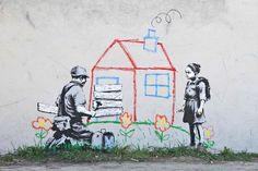 oeuvre engagée de banksy oeuvre murale de banksy représentant une