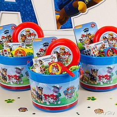 "Say ""thanks for lending a paw!"" to all the kids with official Paw Patrol favor buckets and favors!"