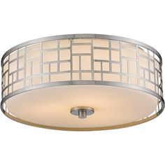 Now $404 - Shop this and similar Z-Lite ceiling lights - The brushed nickel finish and geometric pattern of this Elea flush mount features a matte opal glass sh...
