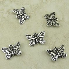 5 TierraCast Monarch Butterfly Charms  Fine silver by Dragynsfyre (Craft Supplies & Tools, Jewelry & Beading Supplies, Beads, Animal Beads, garden, botany, bug insect, moth, monarch, mothers day, spring summer, tierracast charm, tierracast bead, silver butterfly, butterfly charm, monarch butterfly, silver monarch)