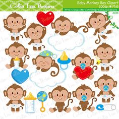 Baby Monkey Clipart Cute Monkey Baby Boy by CeliaLauDesigns