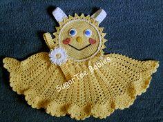 Bébé fille ensoleillé Face Pinafore Dress Topper par SugarToeBabies, $4.00