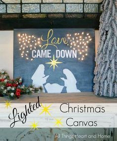 Lighted Christmas Canvas Artificial fir tree as Christmas decoration? A synthetic Christmas Tree or even a real one? Lovers o Christmas Stage Decorations, Christmas Float Ideas, Christmas Stage Design, Christmas Parade Floats, Church Decorations, Christmas Canvas, Christmas Nativity, Christmas Paintings, Christmas Art