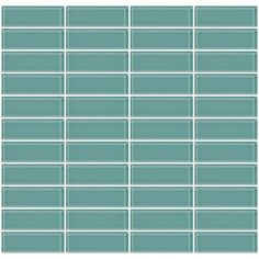 """Stacked 1"""" x 3"""" Glass Subway Tile in Glossy Green"""