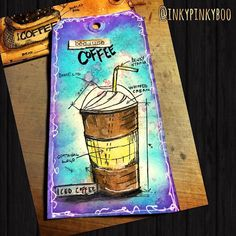 Used @tim_holtz #distresscrayons and #distressoxide to color this cute tag #freshbrewedblueprint #stamp and accented with #posca #pen #inkypinkyboo #mixedmedia #mixedmediaart #mixedmediaartist #coffee #coffeebeans #frappuccino #coffeeaddict #brightcolors