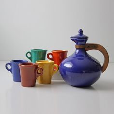Blue Coffee Pot & Cups Set @Pascale Lemay Lemay De Groof