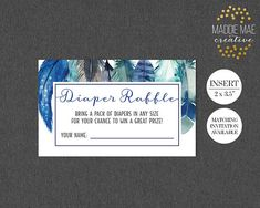 Diaper Raffle Insert Card Coordinates with Blue Feather