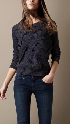 - Sweater Fashion - Women's Clothing Lattice Knit Check Sweater Casual Sweaters, Cozy Sweaters, Sweaters For Women, Winter Sweaters, Mode Outfits, Fall Outfits, Fashion Outfits, Cute Casual Outfits, Knit Fashion