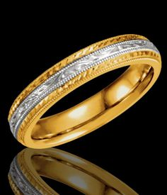 4MM Hand Engraved 14K White Yellow Gold Wedding Band