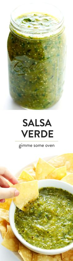 Learn how to make authentic Salsa Verde in the blender or food processor! This classic Mexican recipe is super quick and easy to make, and tastes great on enchiladas, tacos, chilaquiles, burritos, or whatever sounds good.  Or just serve it my favorite way -- as an appetizer with chips! | gimmesomeoven.com