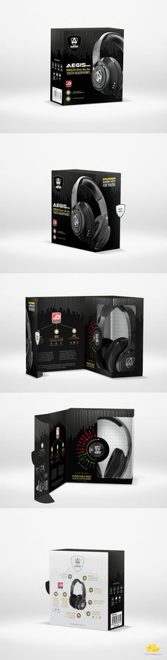 Custom package design for Aegis Pro headphones.